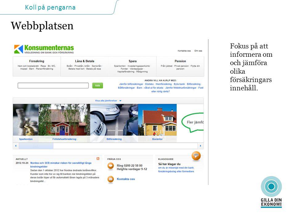 Webbplatsen Fokus på att informera om och jämföra olika försäkringars innehåll.