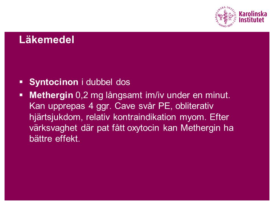 Läkemedel Syntocinon i dubbel dos