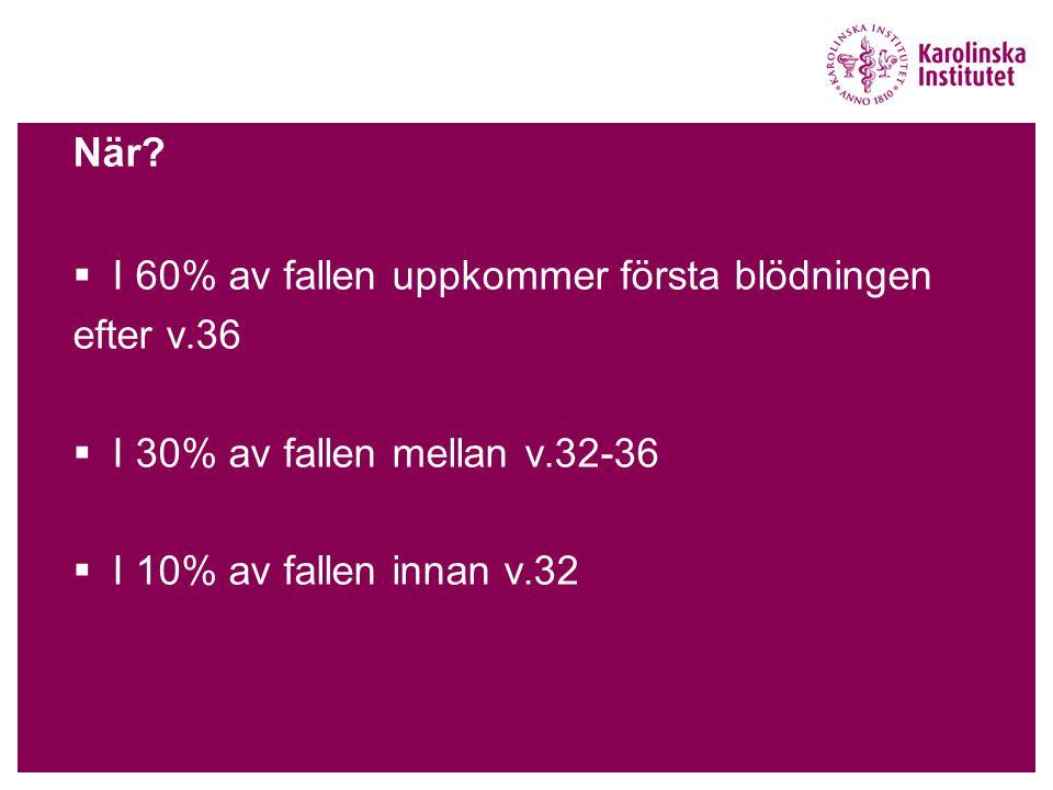 När. I 60% av fallen uppkommer första blödningen.