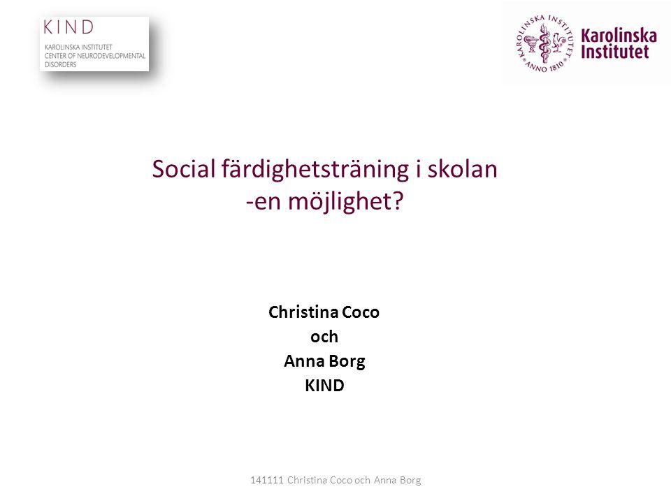 Social färdighetsträning i skolan -en möjlighet
