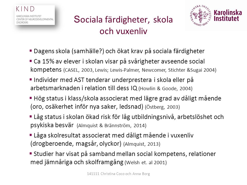 Sociala färdigheter, skola och vuxenliv