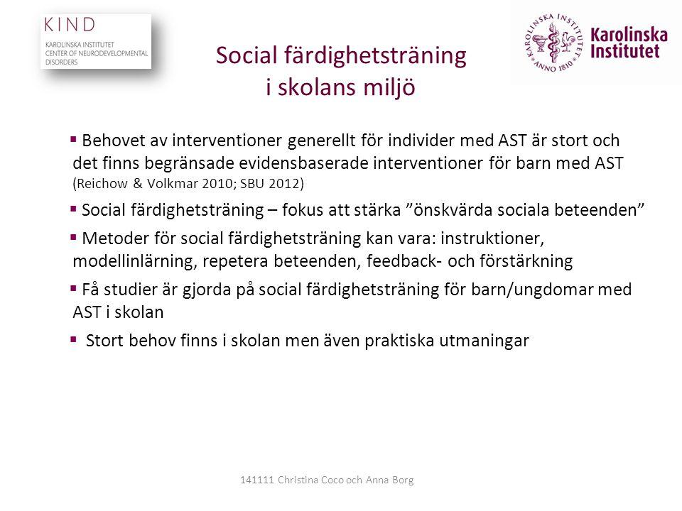 Social färdighetsträning i skolans miljö