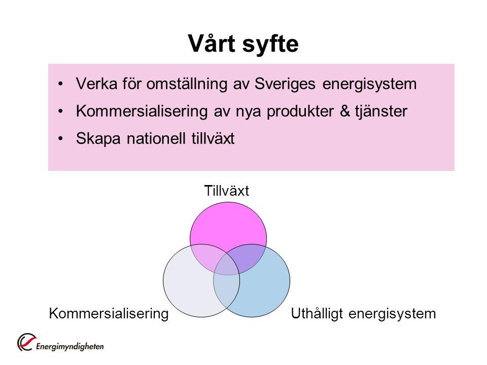 Vårt syfte Verka för omställning av Sveriges energisystem
