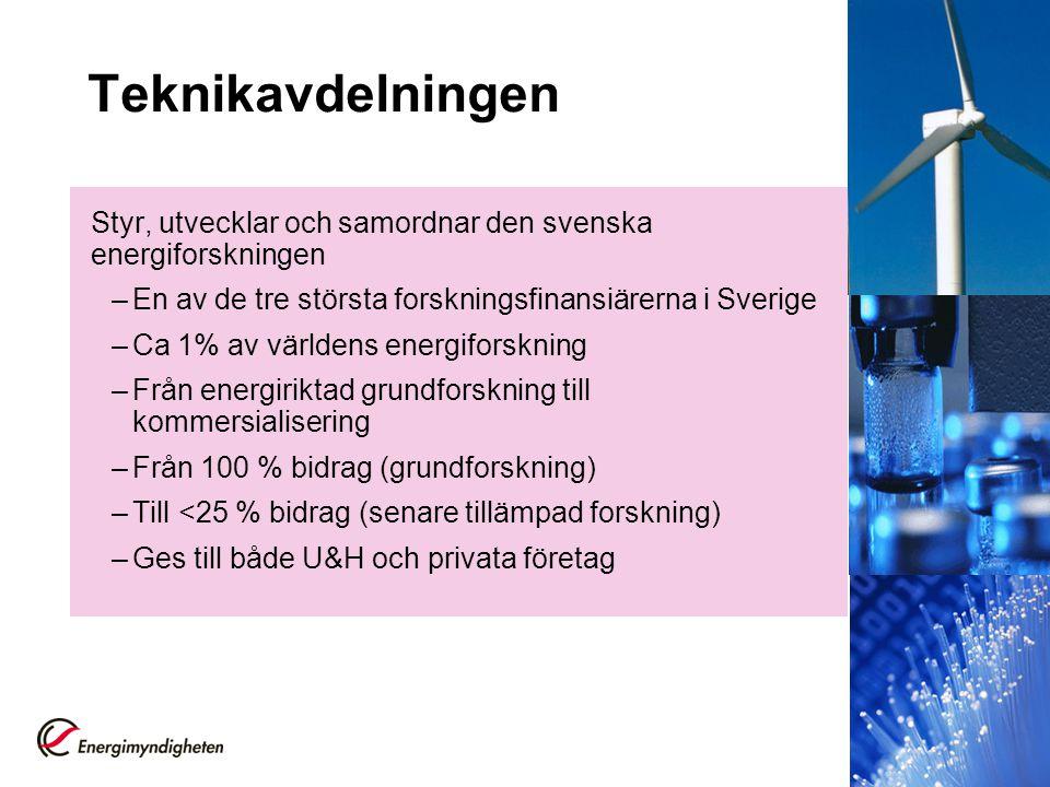 Teknikavdelningen Styr, utvecklar och samordnar den svenska energiforskningen. En av de tre största forskningsfinansiärerna i Sverige.