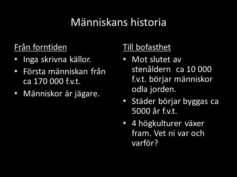 Människans historia Från forntiden Inga skrivna källor.