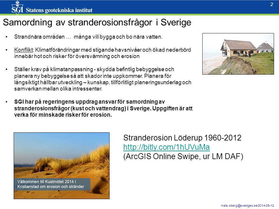 Samordning av stranderosionsfrågor i Sverige