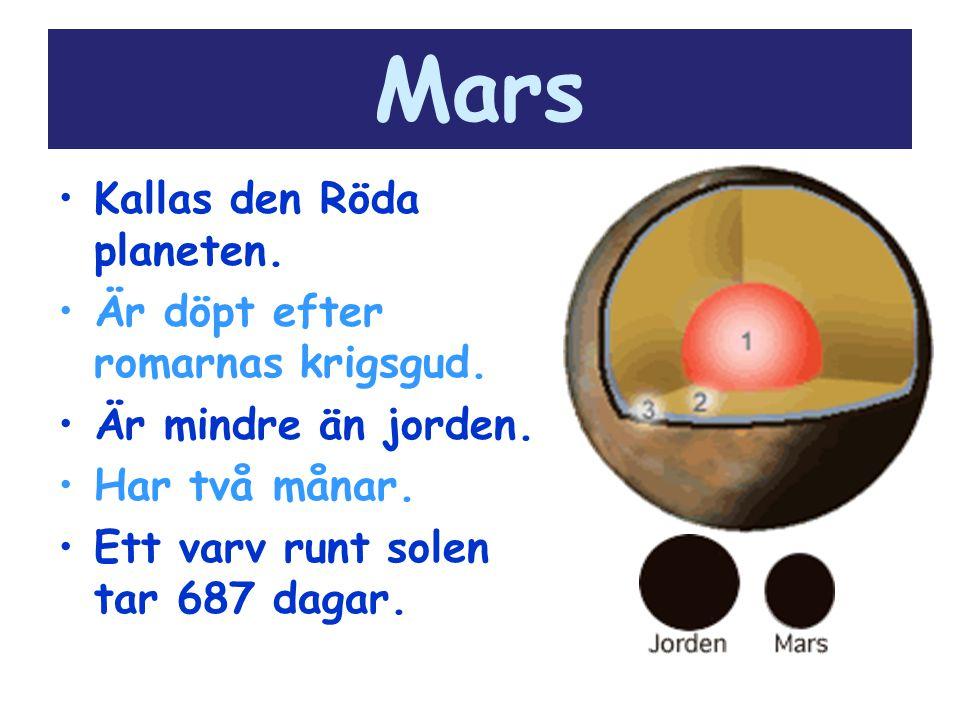 Mars Kallas den Röda planeten. Är döpt efter romarnas krigsgud.