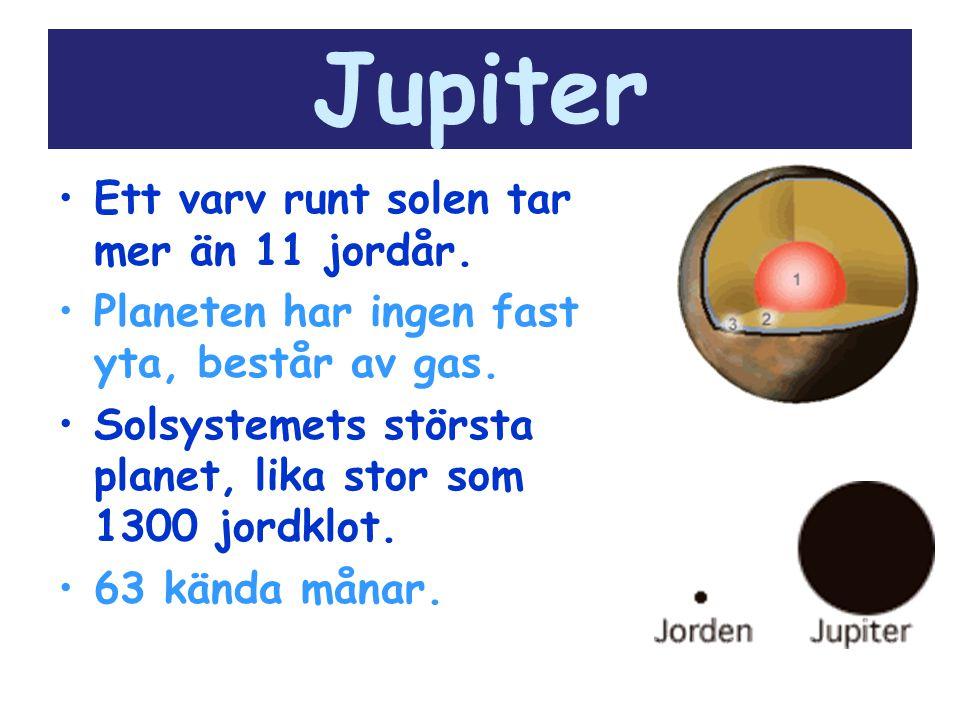 Jupiter Ett varv runt solen tar mer än 11 jordår.