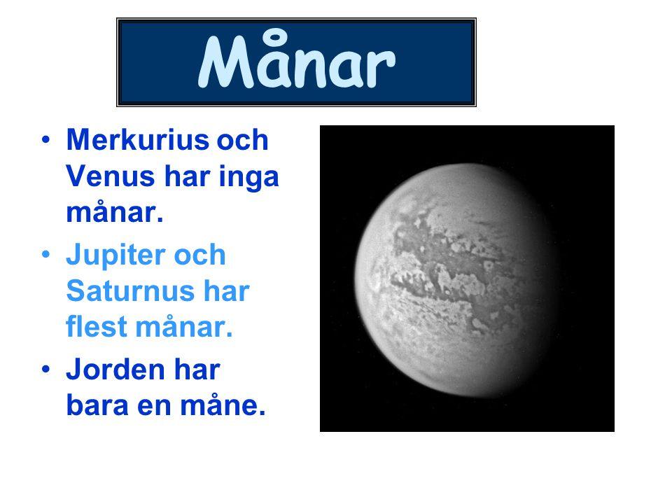 Månar Merkurius och Venus har inga månar.