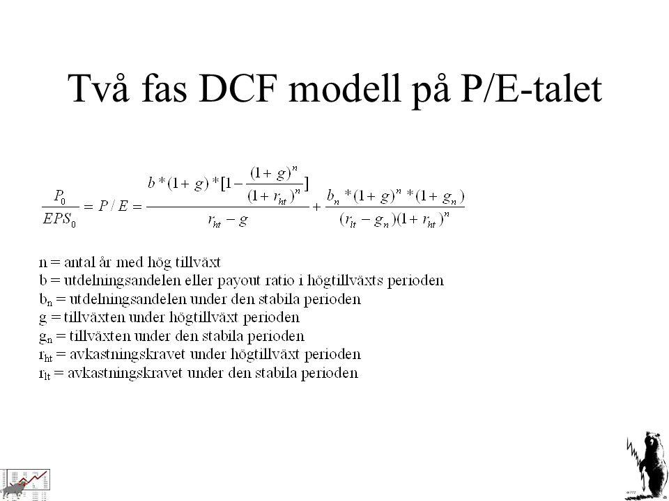 Två fas DCF modell på P/E-talet