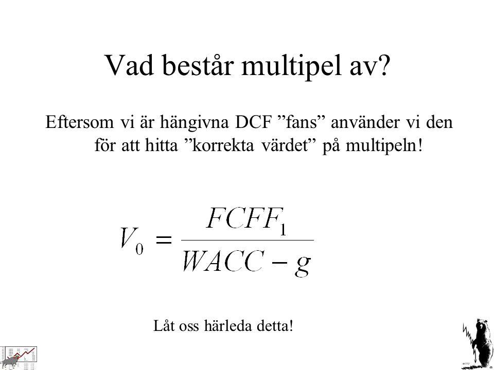 Vad består multipel av Eftersom vi är hängivna DCF fans använder vi den för att hitta korrekta värdet på multipeln!
