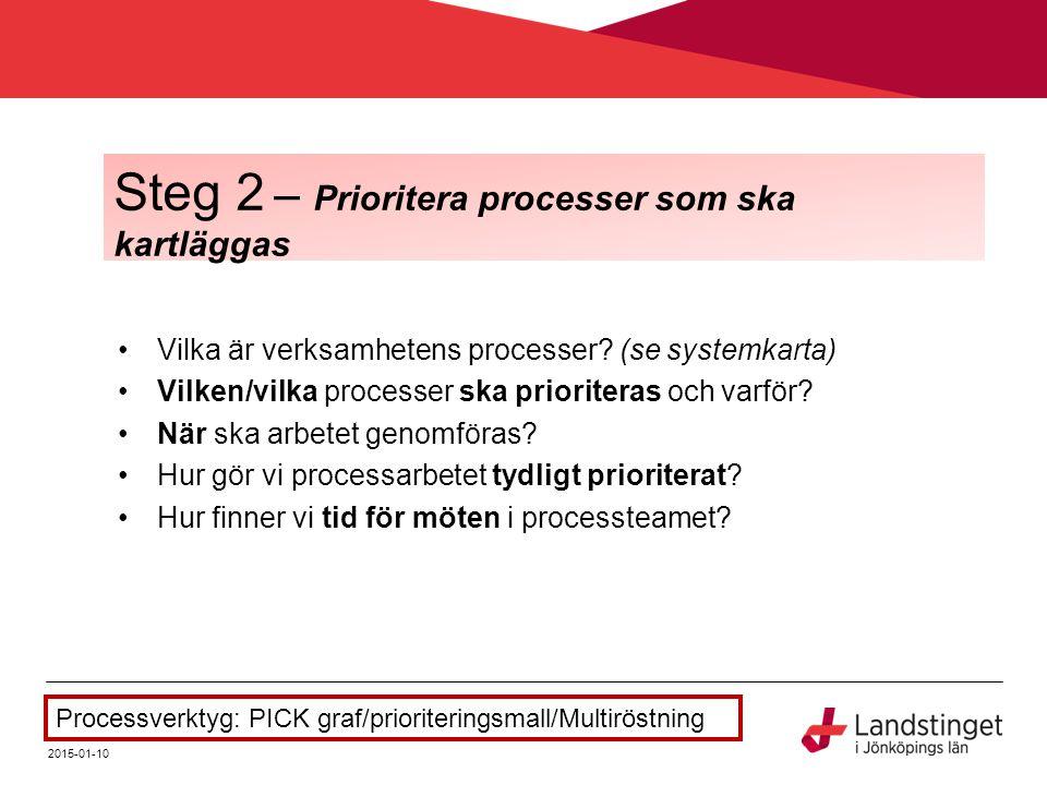 Steg 2 – Prioritera processer som ska kartläggas