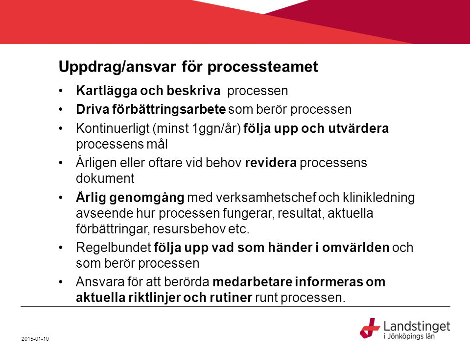 Uppdrag/ansvar för processteamet