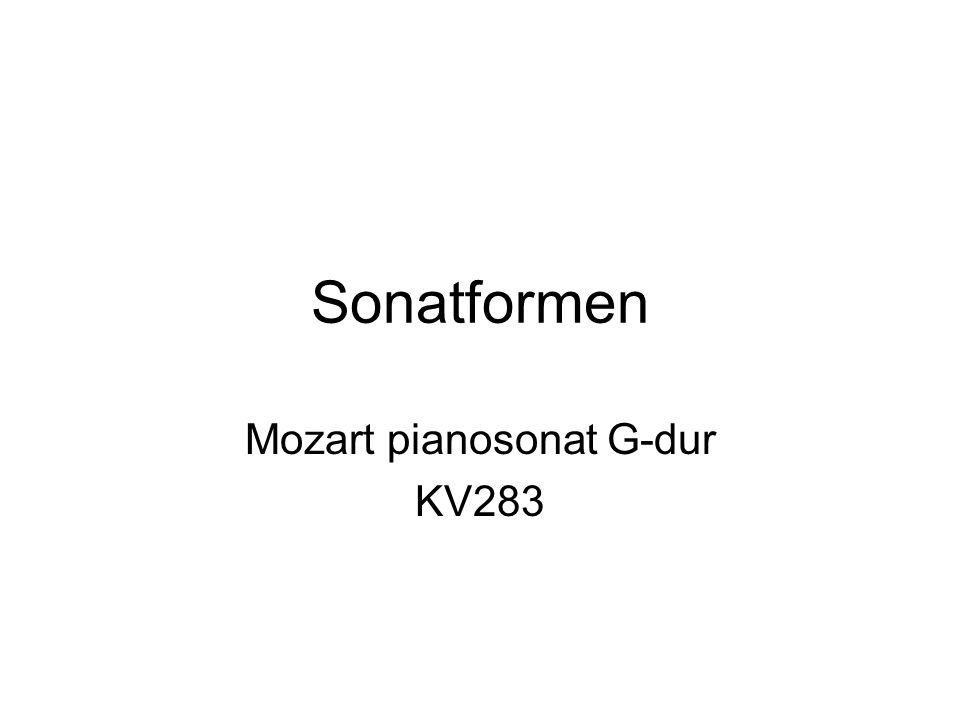 Mozart pianosonat G-dur KV283