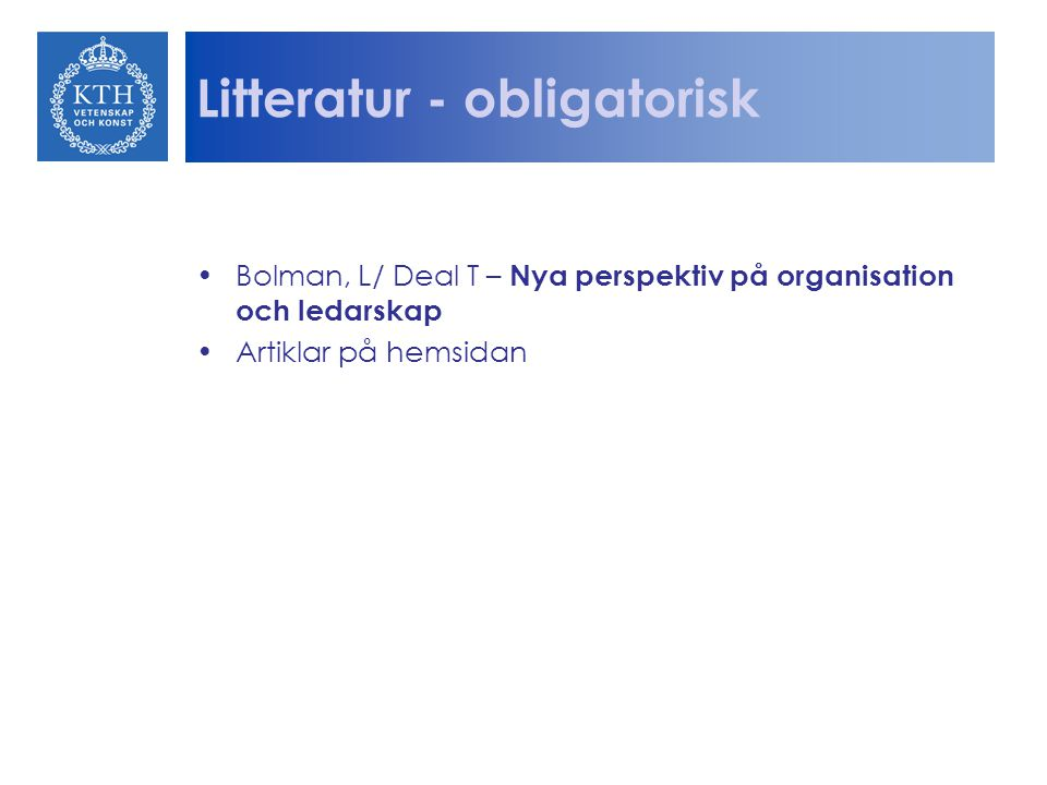 Litteratur - obligatorisk