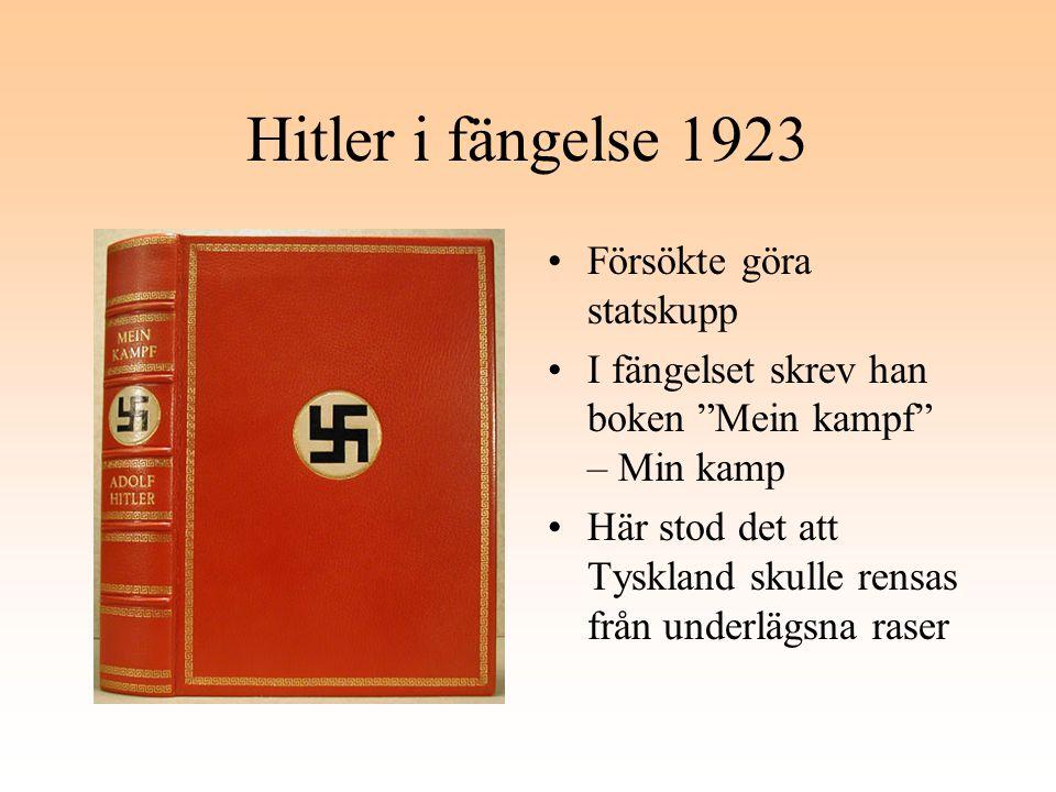 Hitler i fängelse 1923 Försökte göra statskupp