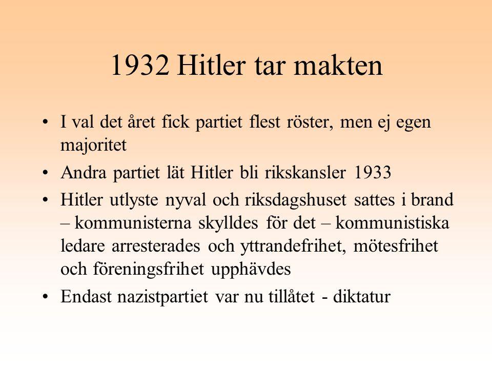 1932 Hitler tar makten I val det året fick partiet flest röster, men ej egen majoritet. Andra partiet lät Hitler bli rikskansler 1933.