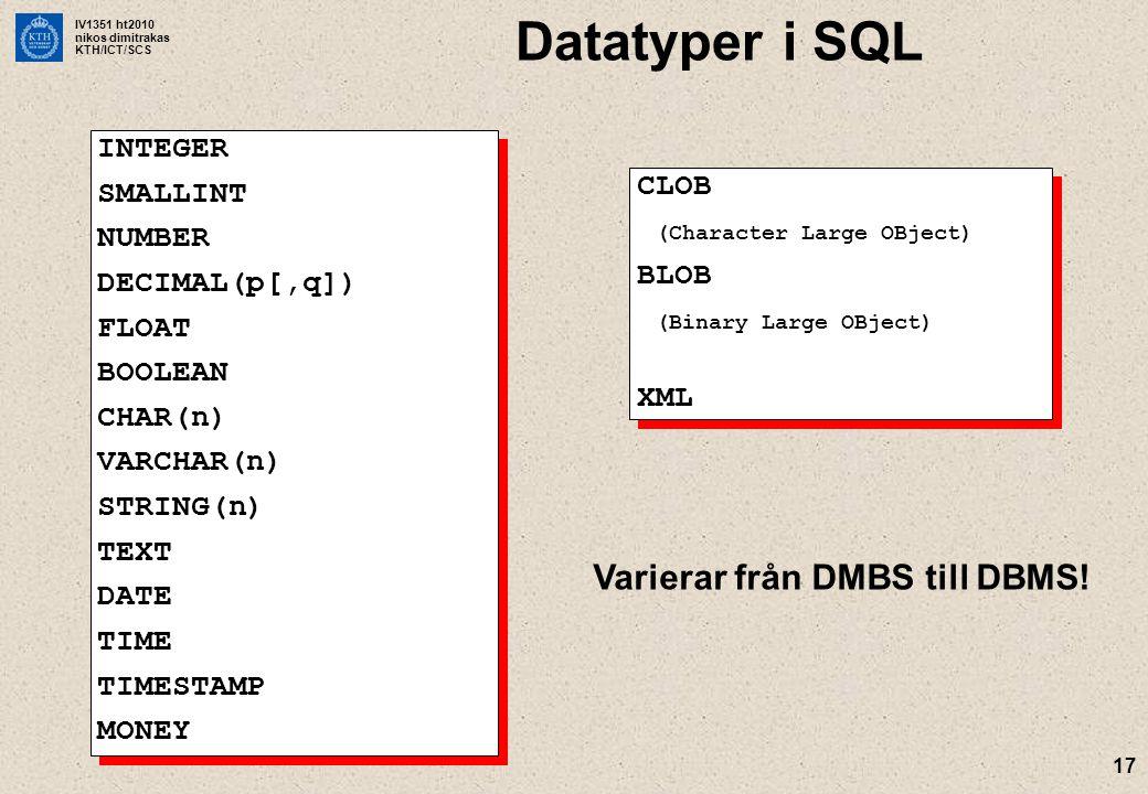 Datatyper i SQL Varierar från DMBS till DBMS! INTEGER SMALLINT NUMBER