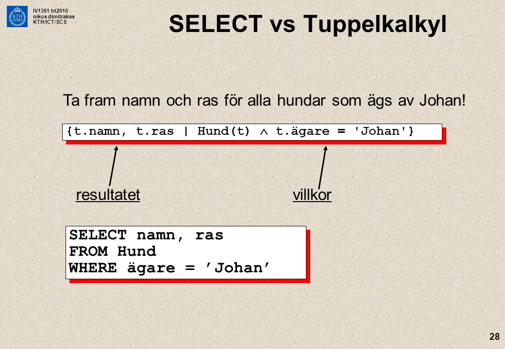 SELECT vs Tuppelkalkyl