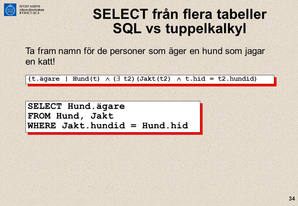 SELECT från flera tabeller SQL vs tuppelkalkyl