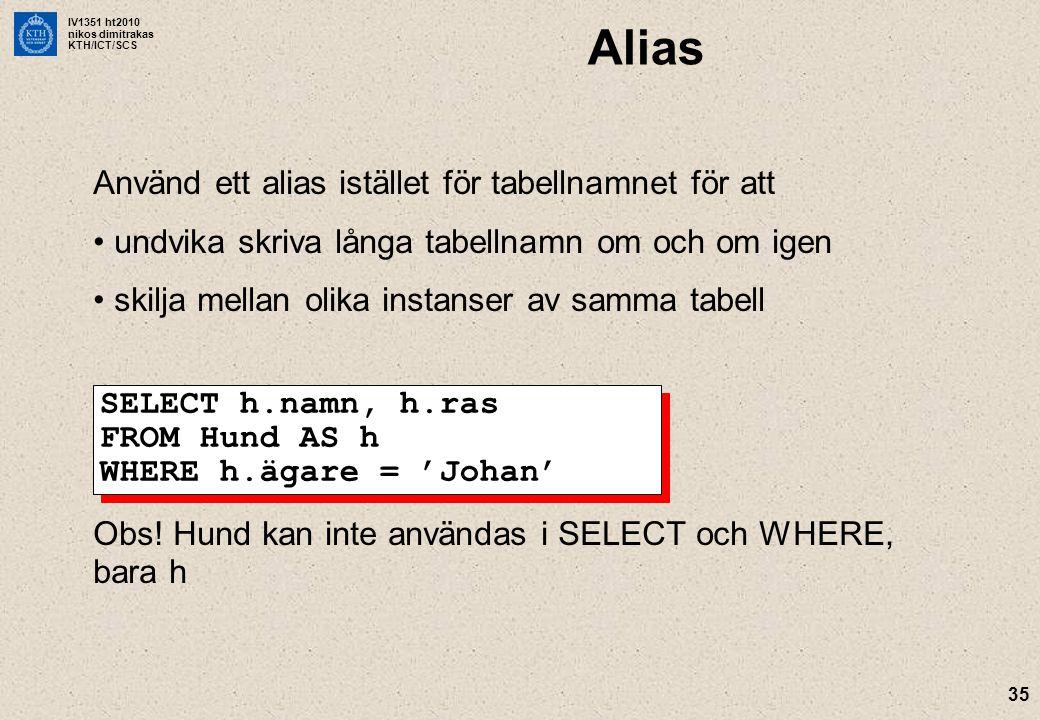 Alias Använd ett alias istället för tabellnamnet för att