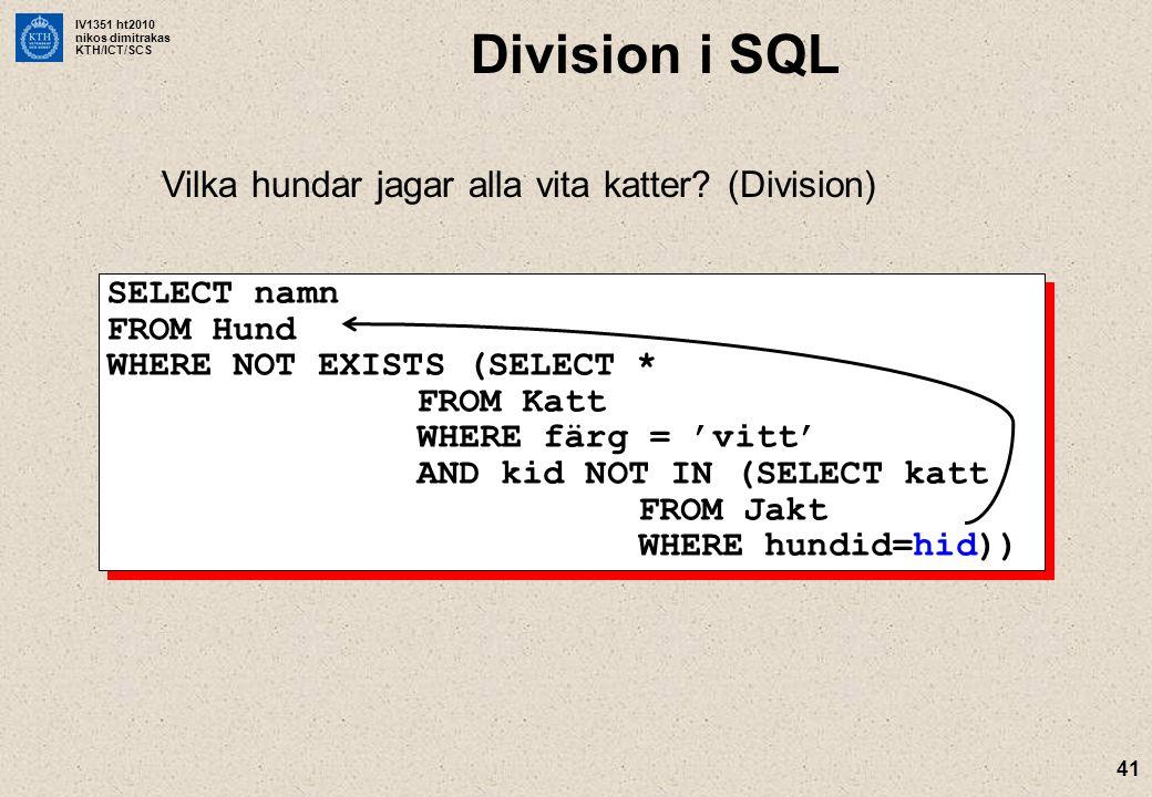 Division i SQL Vilka hundar jagar alla vita katter (Division)