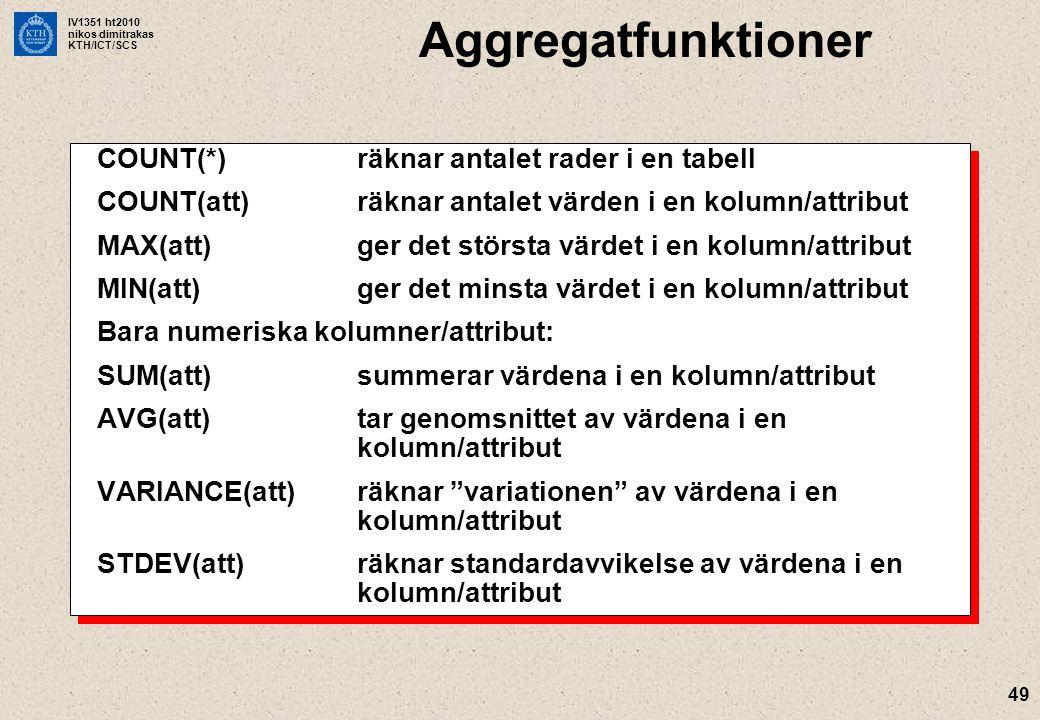 Aggregatfunktioner COUNT(*) räknar antalet rader i en tabell