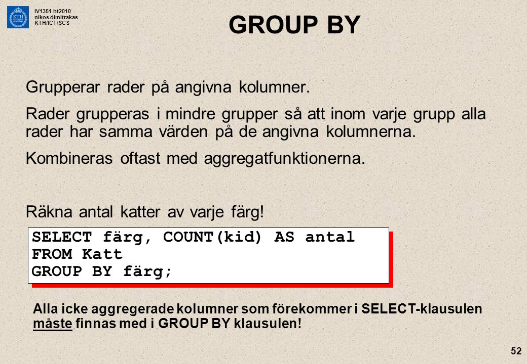GROUP BY Grupperar rader på angivna kolumner.