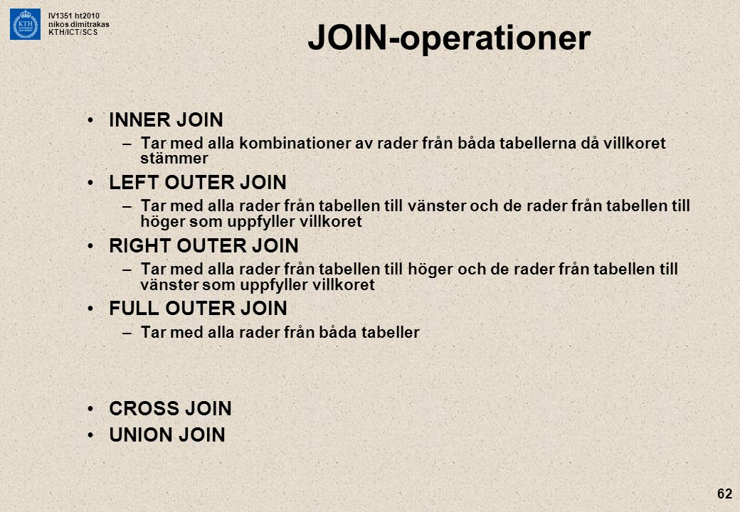 JOIN-operationer INNER JOIN LEFT OUTER JOIN RIGHT OUTER JOIN