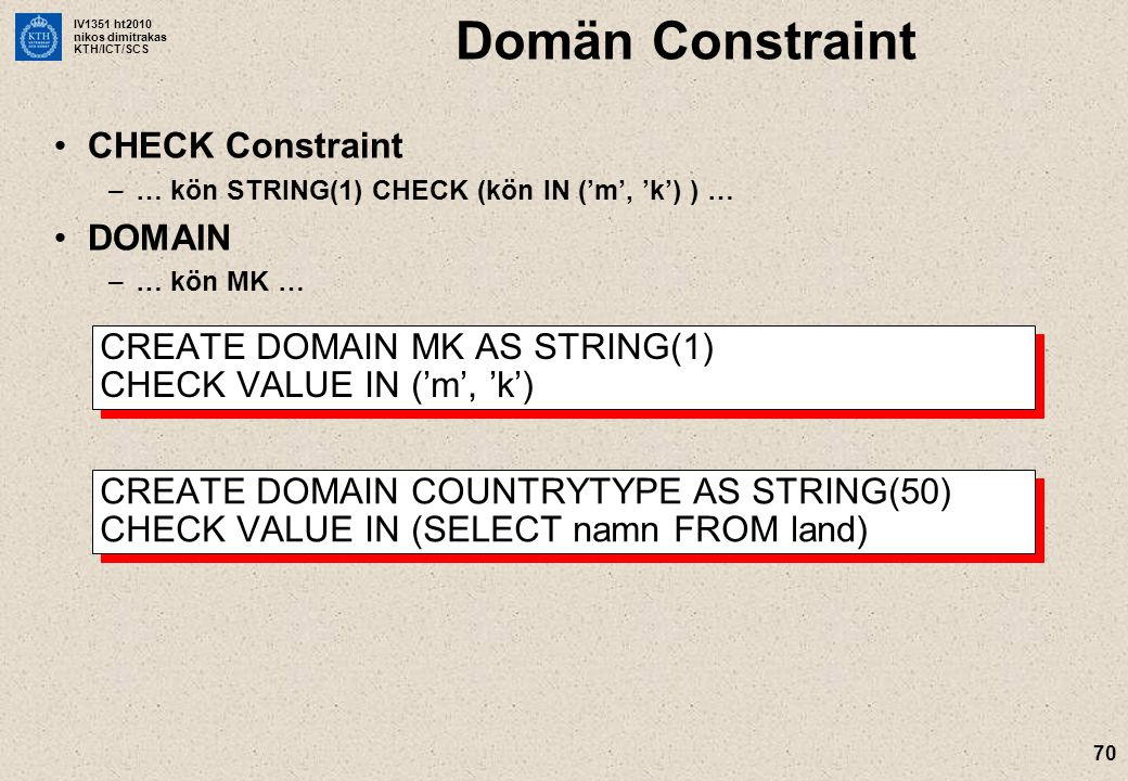 Domän Constraint CHECK Constraint DOMAIN