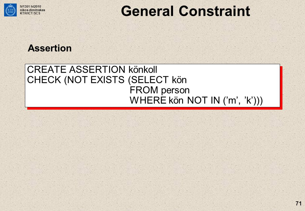 General Constraint Assertion