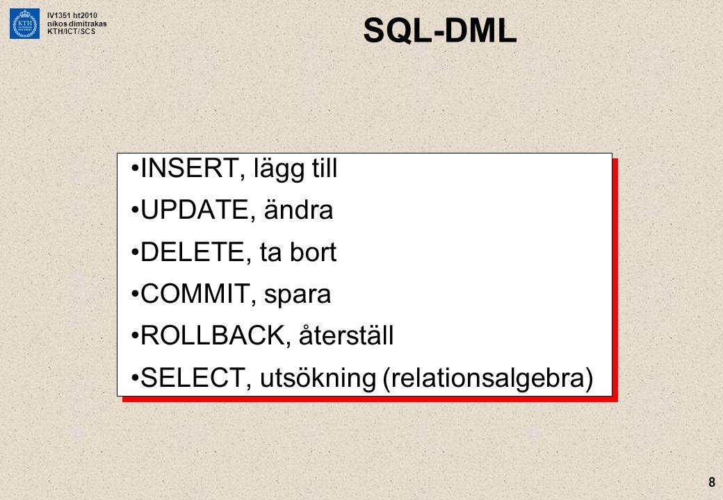 SQL-DML INSERT, lägg till UPDATE, ändra DELETE, ta bort COMMIT, spara