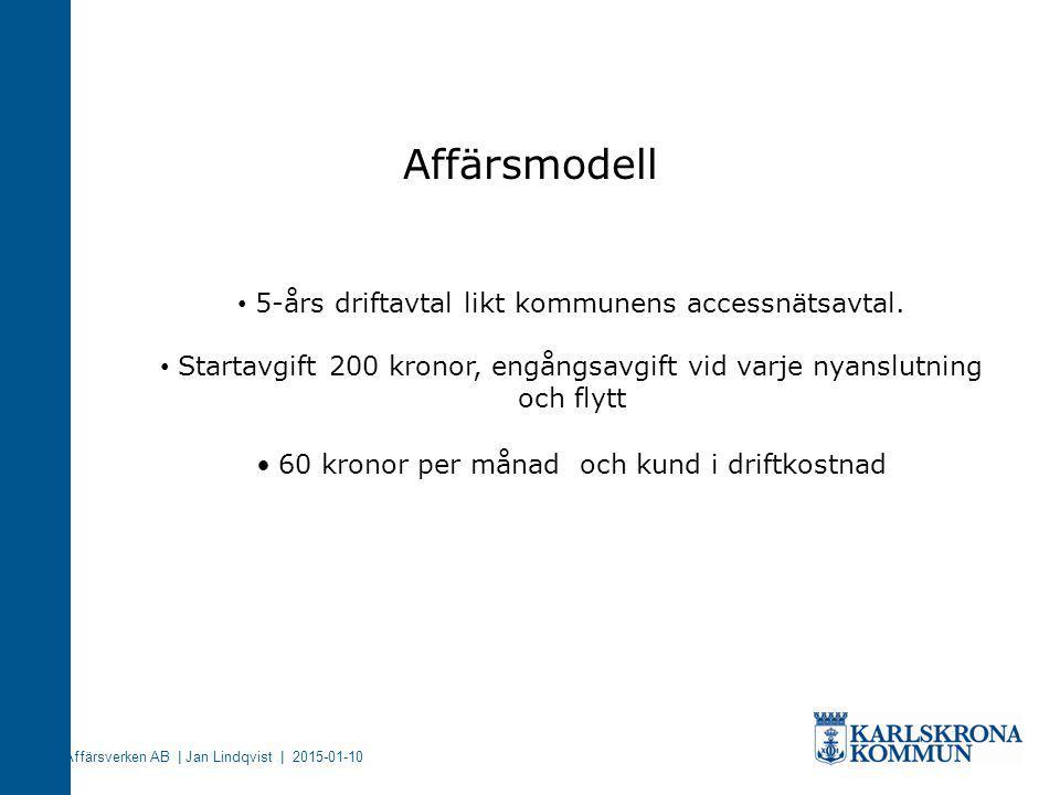 Affärsmodell 5-års driftavtal likt kommunens accessnätsavtal.