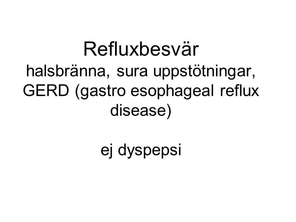 Refluxbesvär halsbränna, sura uppstötningar, GERD (gastro esophageal reflux disease) ej dyspepsi