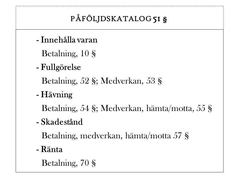 - Fullgörelse Betalning, 52 §; Medverkan, 53 §