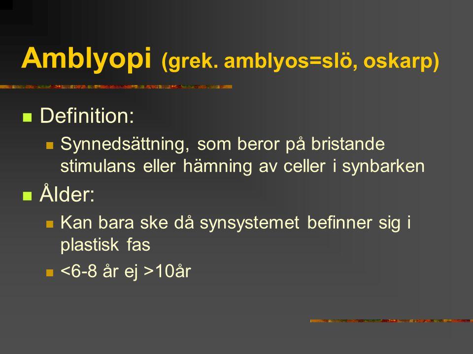 Amblyopi (grek. amblyos=slö, oskarp)