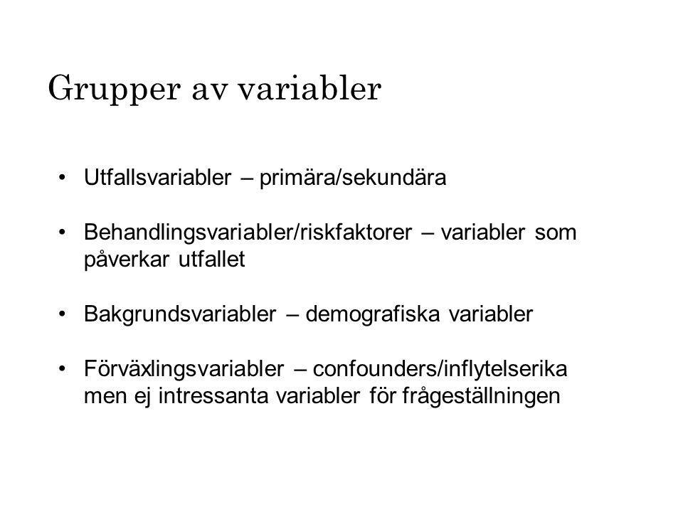 Grupper av variabler Utfallsvariabler – primära/sekundära