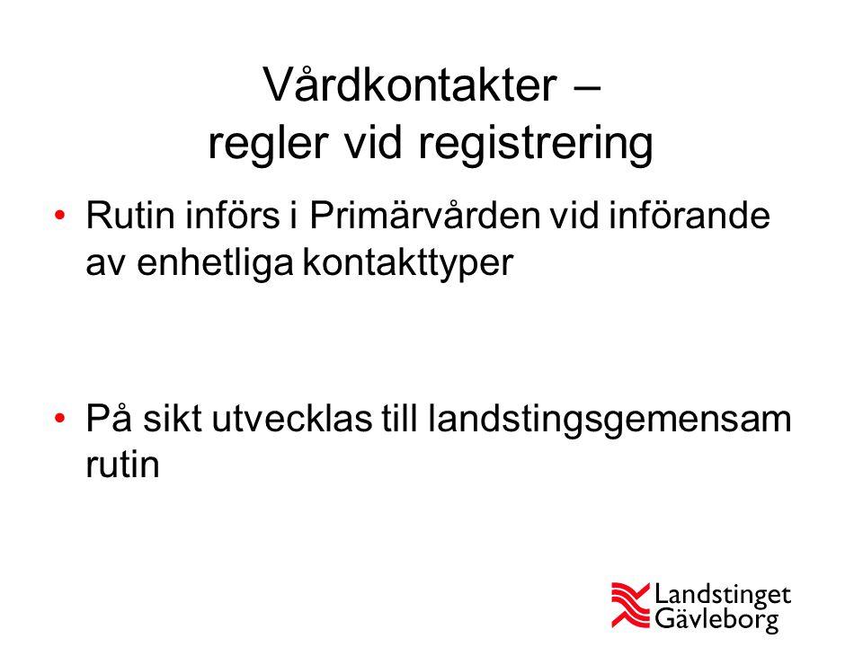 Vårdkontakter – regler vid registrering