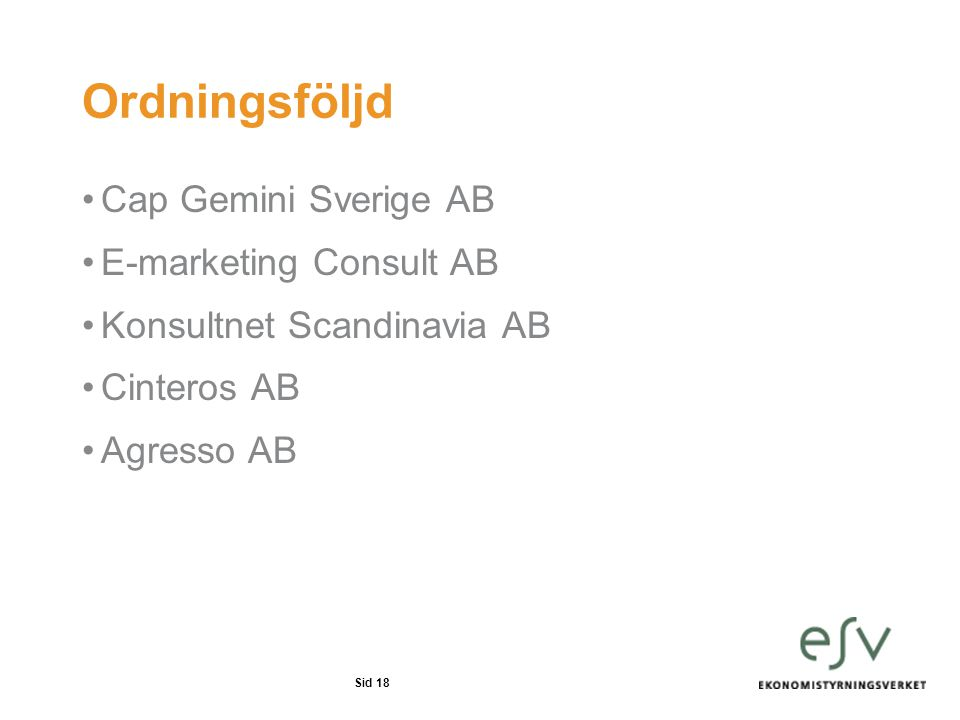 Ordningsföljd Cap Gemini Sverige AB E-marketing Consult AB