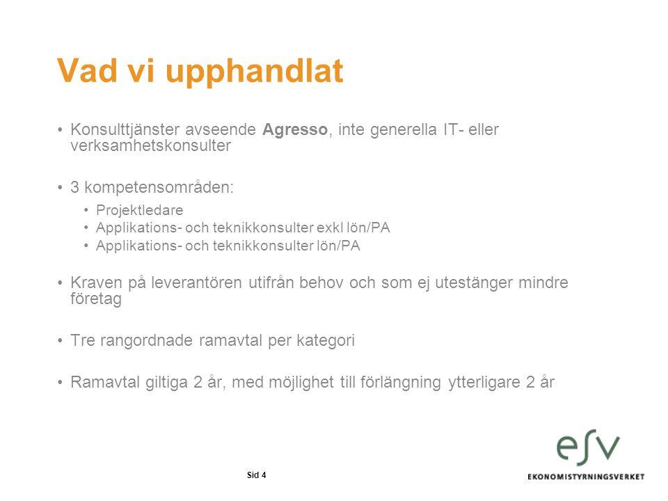 Vad vi upphandlat Konsulttjänster avseende Agresso, inte generella IT- eller verksamhetskonsulter. 3 kompetensområden: