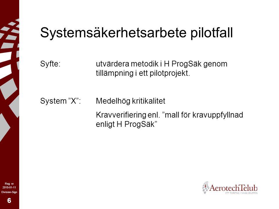 Systemsäkerhetsarbete pilotfall