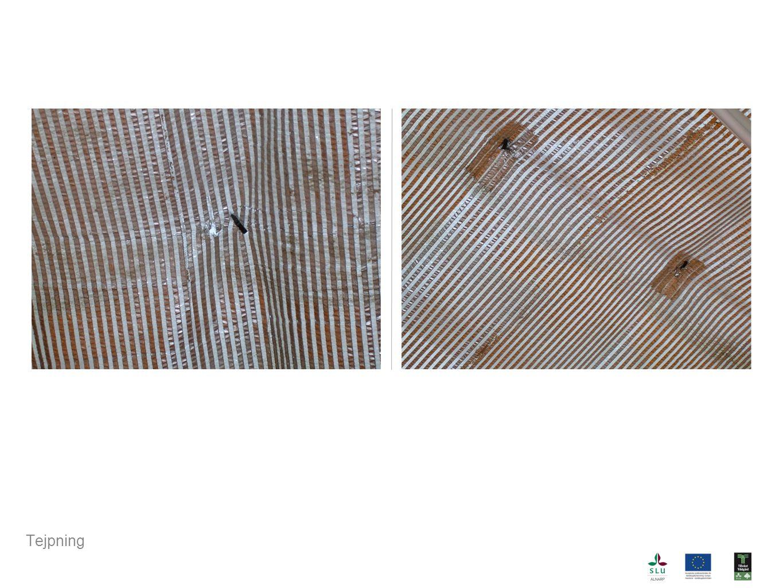 Höger: tejpad väv där krokarna sitter.