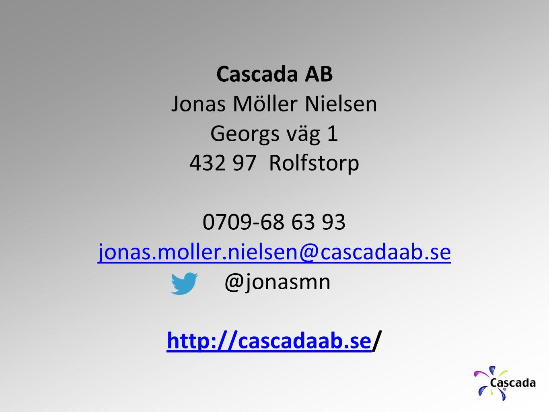 Cascada AB Jonas Möller Nielsen. Georgs väg 1. 432 97 Rolfstorp. 0709-68 63 93. jonas.moller.nielsen@cascadaab.se.