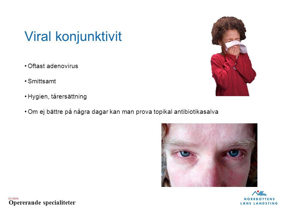 Viral konjunktivit Oftast adenovirus Smittsamt Hygien, tårersättning