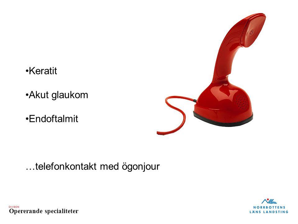 Keratit Akut glaukom Endoftalmit …telefonkontakt med ögonjour