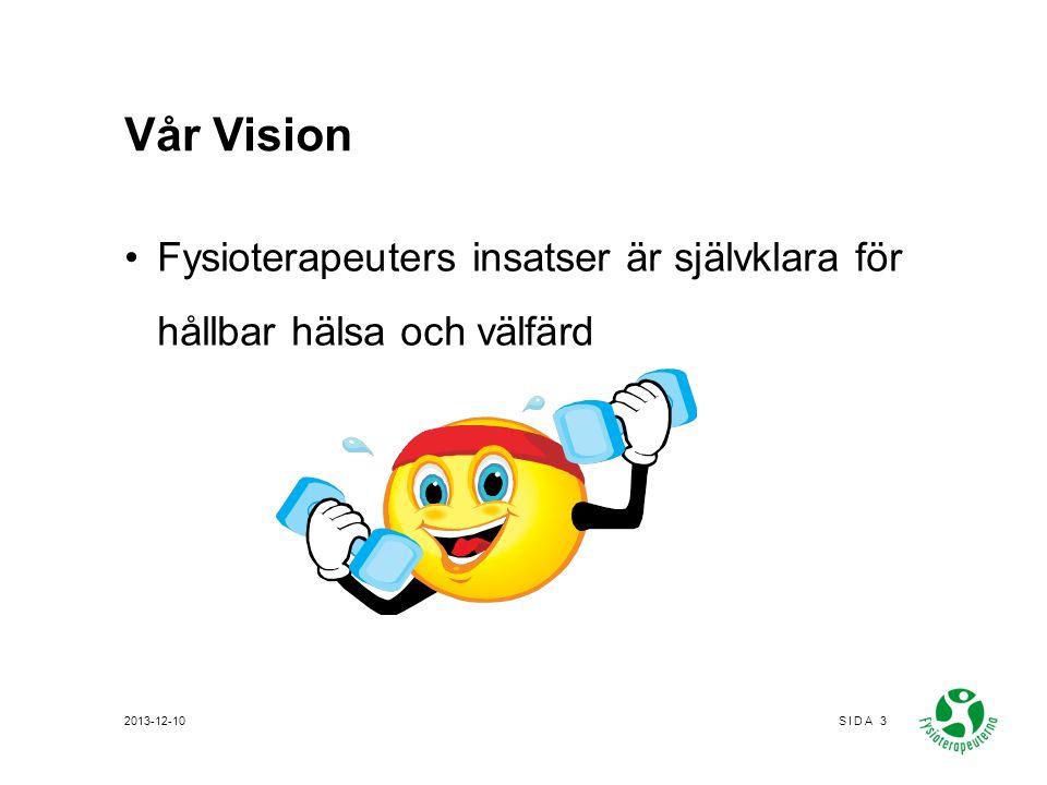 Vår Vision Fysioterapeuters insatser är självklara för hållbar hälsa och välfärd 2013-12-10