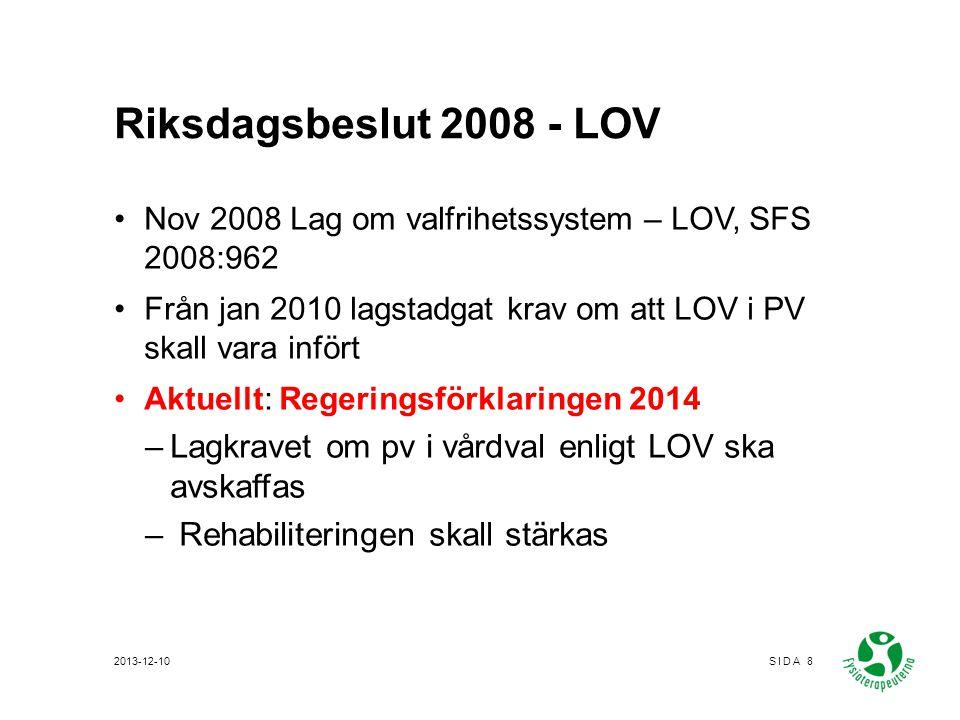 Riksdagsbeslut 2008 - LOV Nov 2008 Lag om valfrihetssystem – LOV, SFS 2008:962. Från jan 2010 lagstadgat krav om att LOV i PV skall vara infört.