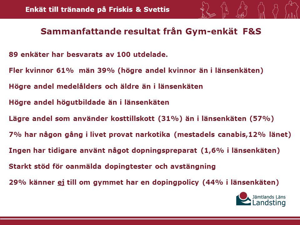 Sammanfattande resultat från Gym-enkät F&S