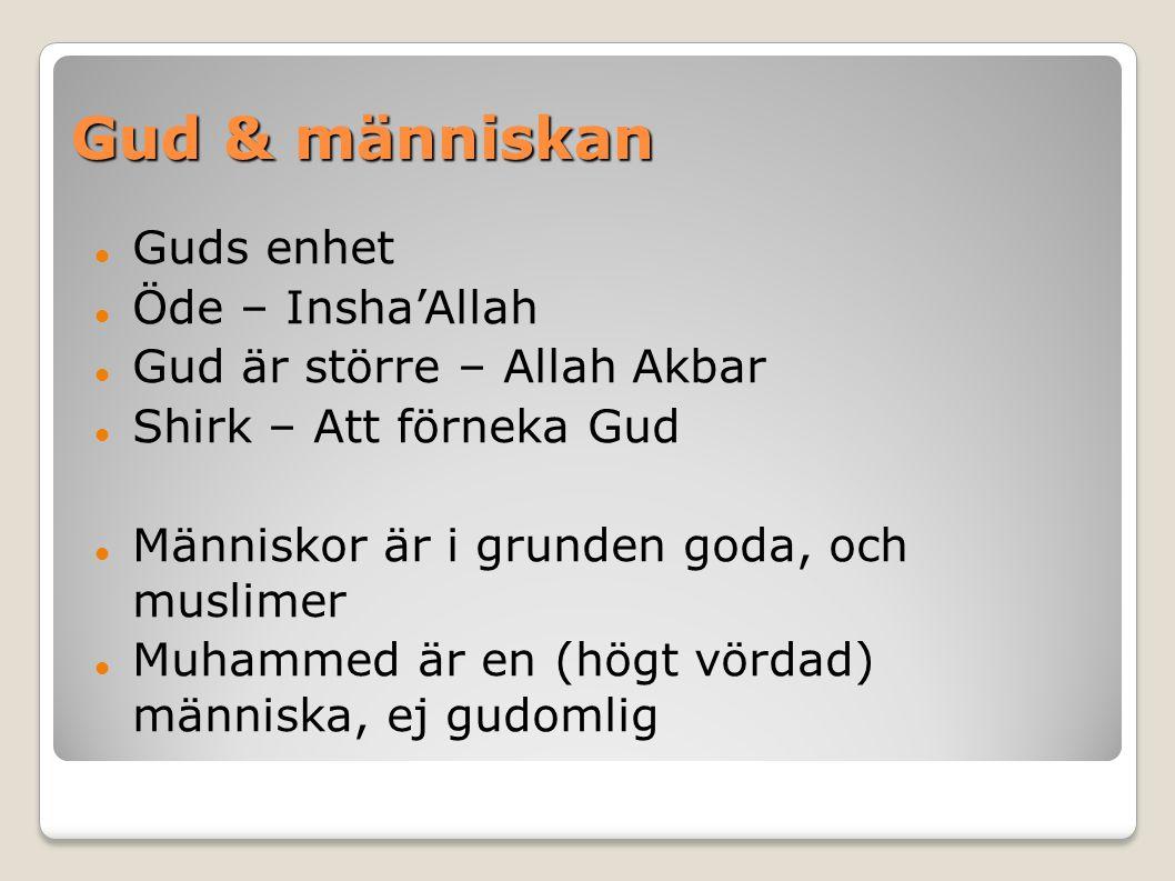 Gud & människan Guds enhet Öde – Insha'Allah