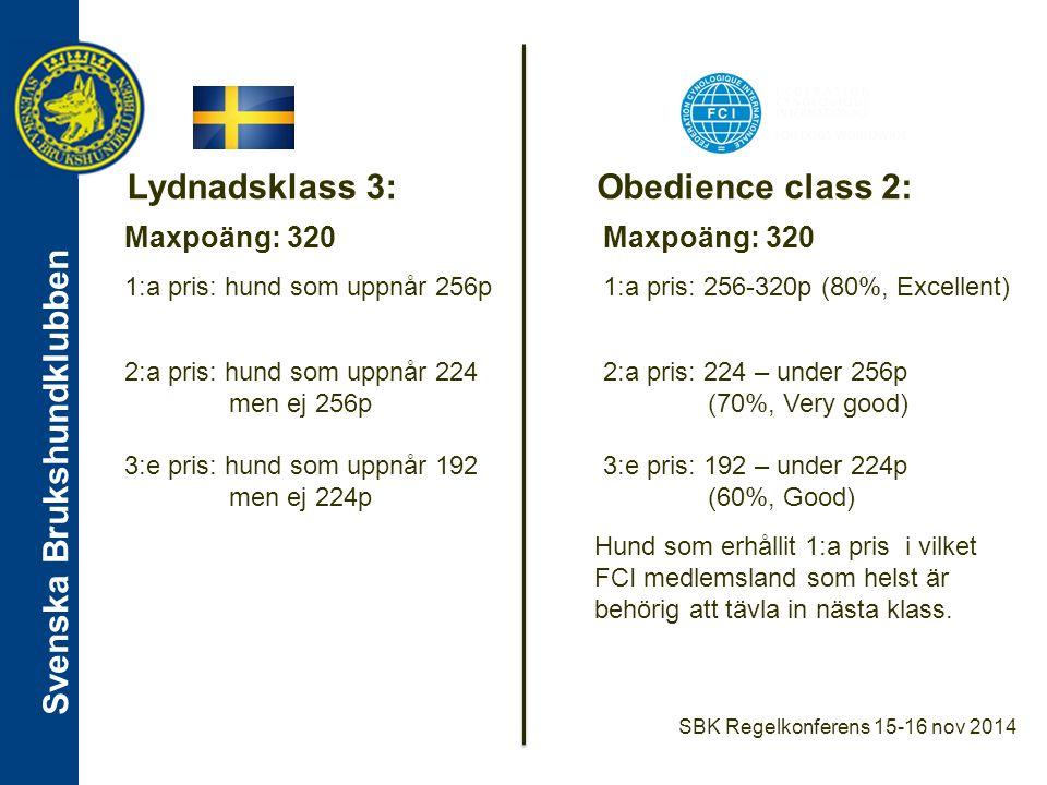 Lydnadsklass 3: Obedience class 2: Maxpoäng: 320 Maxpoäng: 320